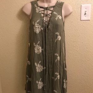Altar'd state olive green shift dress size small